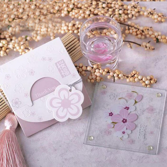 100pcs Love Cherry Blossom Cup Tablemat Glass Coaster Unique Birthday Gifts For Best Friend Wedding Favor