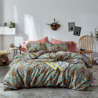 Famvotar Vintage Style 60S Garden Flower Duvet Cover Set with Zipper Closure Soft Cotton Flower Pattern Bedding Quilt Cover Set