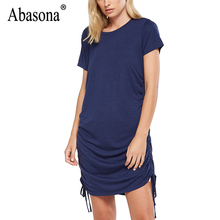 ФОТО abasona women's fashion loose tunic ruched t-shirt mini casual dress beach short sleeve street summer sexy bodycon dress