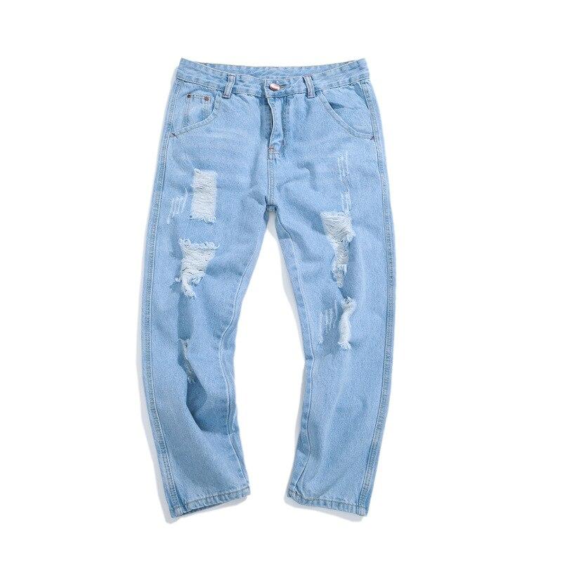 High Quality 2020 Spring Summer Hip Hop Streetwear Ripped Hole Youth Joker Man Cowboy Denim Washing Cargo Teenagers Jeans Men