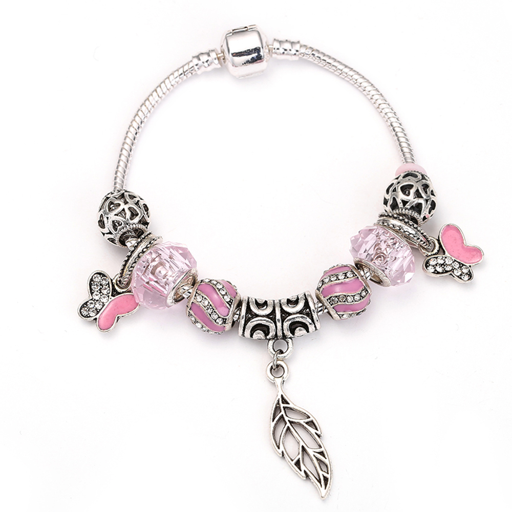 SPINNER Fashion Big Maple Leaves Dangle Charm Bracelet with butterfly Crystal Ball for Girls DIY Pandora Bracelet Jewelry