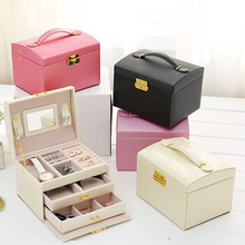 QMJHVX Automatic Leather Jewelry Box Three-layer Storage Box For Women Earring Ring Cosmetic Organizer Casket For Decorations