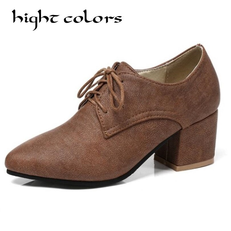 Preppy Girls Chunky Mid Heels Retro College Oxford Womens Brogues Shoes Hot