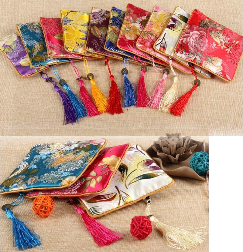 11.5x11.5 CM biżuteria torba, torba na prezent, biżuteria woreczki, mieszany kolor, jedwabiu torba kwiat wzór chiński tradycyjny styl w Pakowanie i ekspozycja biżuterii od Biżuteria i akcesoria na  Grupa 1