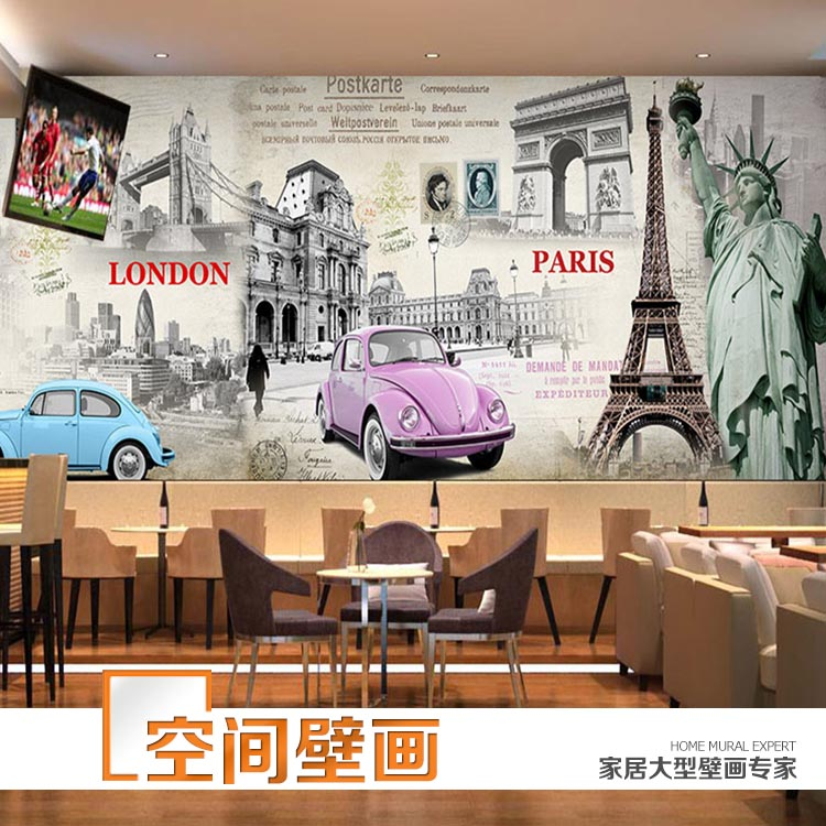 British style 3d mural living room sofa background wall for Cafe wall mural