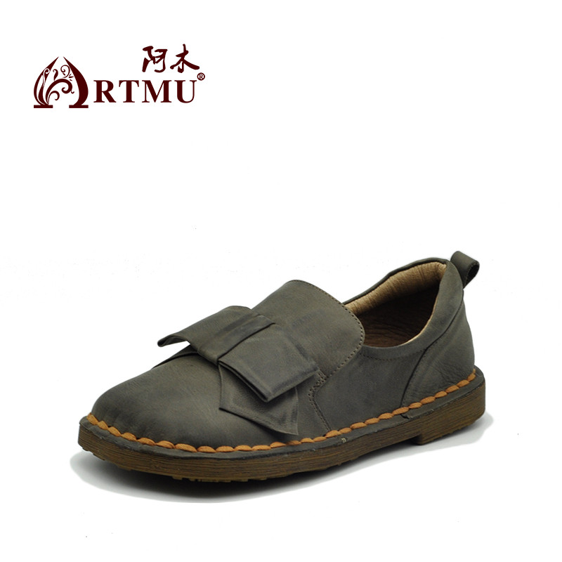 Artmu Original Autumn Sweet Butterfly-knot Soft Sole Women Shoes Square Toe Cowhide Handmade Flat Shoes Y2112L