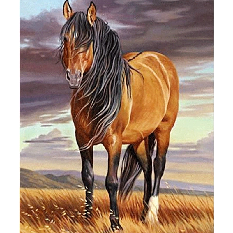 >Diamond Painting Full drill A horse on the <font><b>prairie</b></font> Mosaic DIY Diamond Painting Cross Stitch Embroidery <font><b>Home</b></font> Decorative Craft