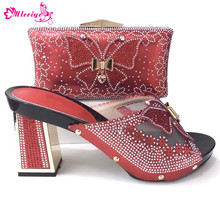 Red Color Matching Italian Shoes and Bag Set African Matching Shoes and