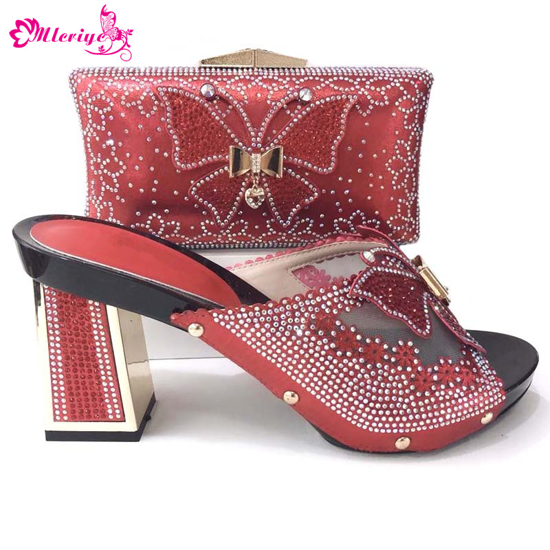 Red Color Matching Italian Shoes and Bag Set African Matching Shoes and Bags Italian In Women Nigerian Shoes and Matching Bags