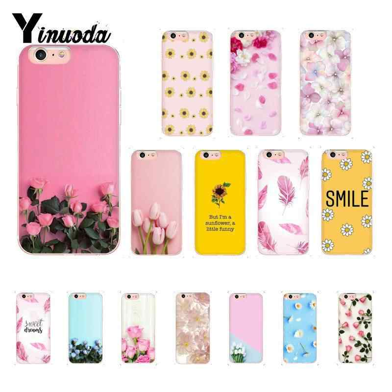Yinuoda Tulip Floral Cherry Rose Flower Feather Pattern TPU Soft Phone Case for iPhone8 7 6 6S Plus X XS MAX 5 5S SE XR 10 Cases