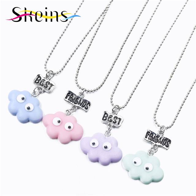Skeins Bff Jewelry 4pcs Set Best Friends Charm Pendants Necklace Food For Kids Moving