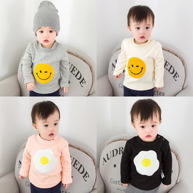 Camiseta Crianças Moda Camisetas Camisa Da Menina Roupa Do Bebê Sorriso Bordados Manga Comprida Roupa das Crianças Da Criança Infantil Tees Tops