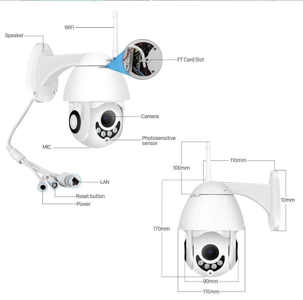 BESDER 1080P H.265 Speed Dome Outdoor WiFi Wireless Pan Tilt IP Camera 2 Way Audio SD Card IR Vision IP ONVIF Video Surveillance