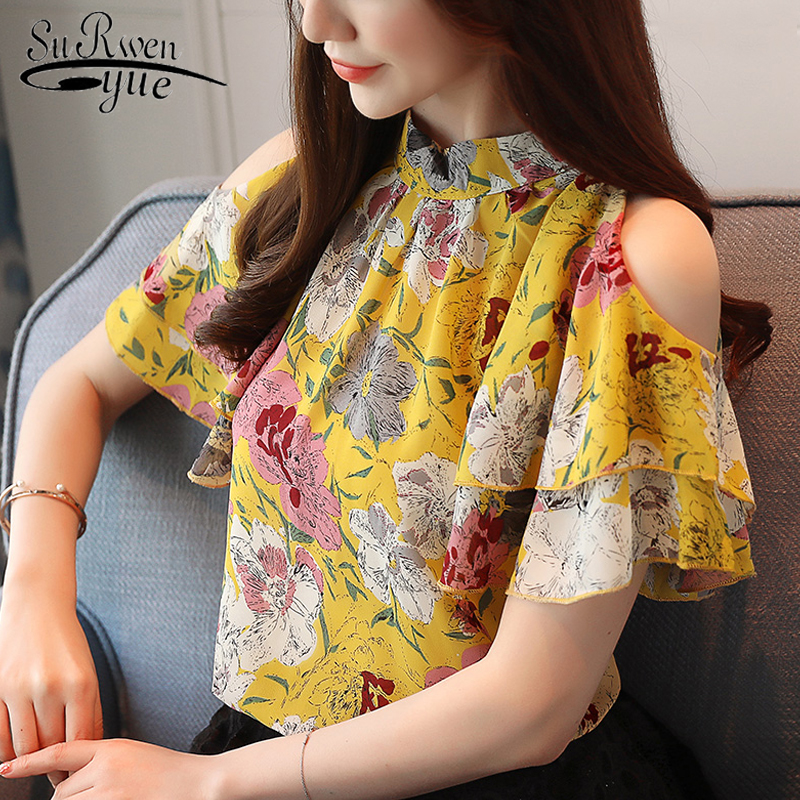 sexy off shoulder top women print chiffon   blouse     shirt   fashion women   blouses   2019 short sleeve women Summer tops blusas 2097 60