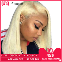 613 Blonde Lace Front Short Human Hair Wigs For Women Full 360 Lace Frontal Wig Black Brazilian Remy Hair 150 Density Venvee