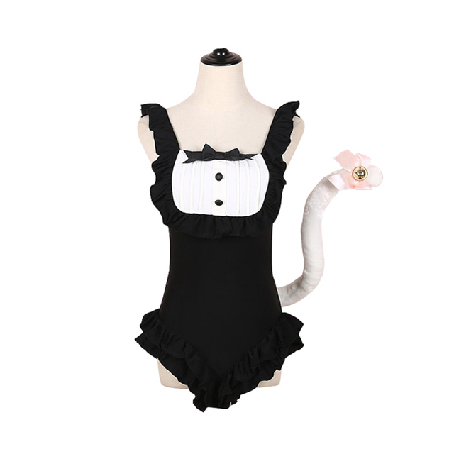 8b625cb203509 US $38.69 10% OFF|new anime neko cat cosplay fancy halloween costume maid  lolita cat tail dress swimsuit for christmas party free shipping-in  Holidays ...