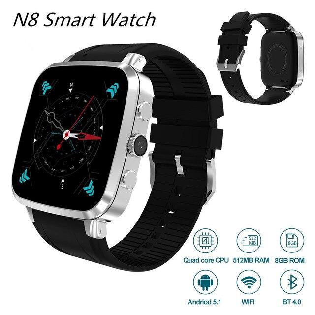 N8 3 г Смарт-часы Android 5.1 512RAM 8gbrom GPS Wi-Fi Bluetooth4.0 шагомер Камера 5.0 м MTK6580 SmartWatch