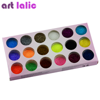 18 Colors Nail Art Glitter Powder Dust Decoration kit For Acrylic Tips UV Gel DIY Drop Shipping Wholesale Nail Glitter