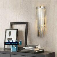 Лобби Серебряный настенный светильник хромированные светодио дный Внутренние светодиодные настенные лампы современный дизайн креативный
