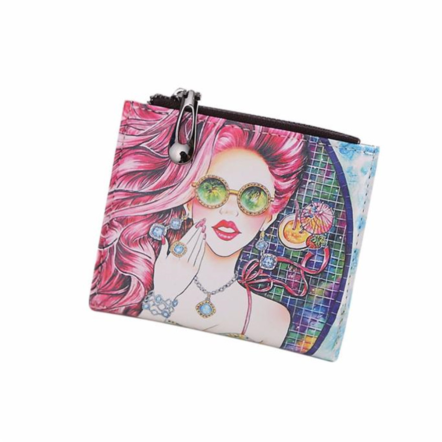 Fashion New Brand Women Vintage Glasses Girl Coin Clip Purse High Quality Zipper Short Wallet Cute Clutch Handbag wallets S