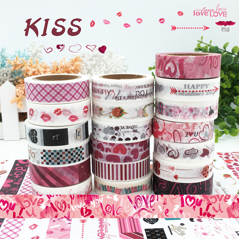 19Pcs/Lot Sale Japanese Cute Washi Tape Love Kiss Set for Card Making & Stationery, Kids' Crafts Party & Gifting, Scrapbooking bulk christmas trees washi tape set of 12pcs fun versatile and decorative craft tape card making