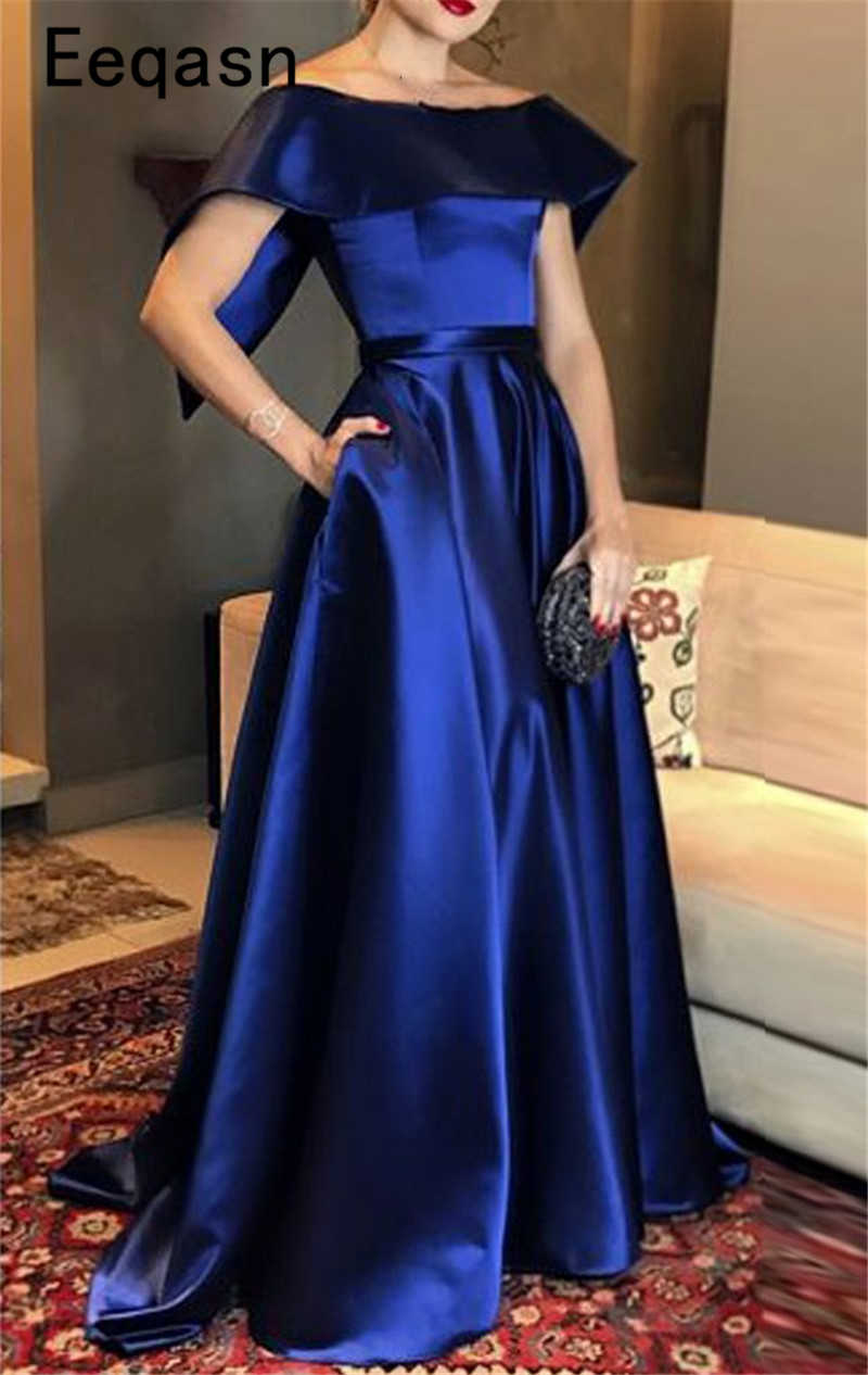Elegant Royal Blue Evening Dresses Long 11 Satin Off Shoulder