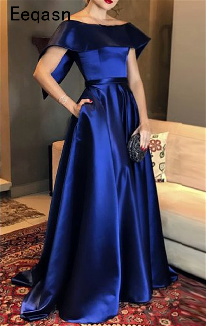 Elegant Royal Blue Evening Dresses Long 2020 Satin Off Shoulder Simple Formal Evening Gown Prom Dress Abendkleider