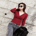2016 New Free Size Long Sleeve V-neck Women Sweaters Pullovers Asymmetric Spring Autumn Female Sexy Knitted Sweater QH146