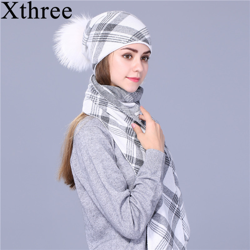 Xthree 2017 new hat scarf set Thick Double-deck beanie Warm winter wool Knitted scarf hat set for girl women men winter slouchy beanie hat scarf set women lined thick knit skull cap thick warm wool knitted hat and scarf winter