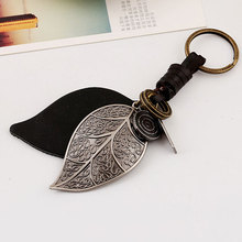 Pure Manual Weaving Retro Punk Big Leaves Key Chain Ring Holder Genuine Leather Metal Keychain CX17