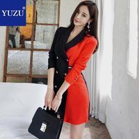 Blazer Jacket Dress Long Sleeve 2018 Autumn Women Fashion Red Black Patchwork Double Breasted Korean High Quality Winter Blazer