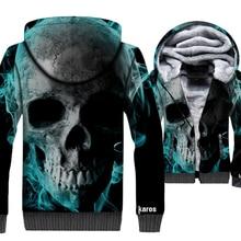 Skull Printed Punk Style Men 3d Hoodies 2019 Winter Thick Warm Casual Men's Jackets Punk Brand Sweatshirt Loose Fit Streetwear недорого