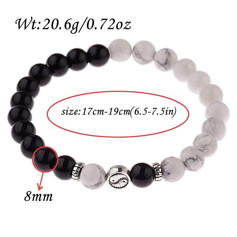 Amader 2019 ретро круглые серебряные бусины Тай Чи черные и белые браслеты из камней Мужские Йога винтажные баланс браслет Pulseira Masculina