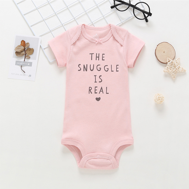 short sleeve bodysuit for baby girl clothes 2019 summer newborn boy set new born costume print body suit clothing 5pcs/lot 3