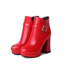 Botas Mujer/новые женские ботинки с круглым носком и пряжкой; пикантные модные Ботильоны на каблуке; сезон зима весна осень; Повседневная T730 1 на молнии; большие размеры
