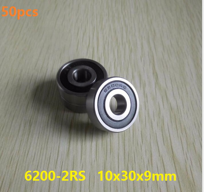 50pcs/lot <font><b>6200RS</b></font> 6200-2RS 6200 2RS RS ball bearings 10*30*9mm Deep Groove Ball bearing 10x30x9mm image