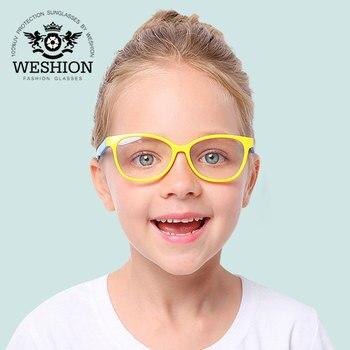 Square Blue Light Kids Glasses Optical Frame 2018 Children Boy Girls Computer Transparent Blocking Anti Reflective Eyeglasses UV