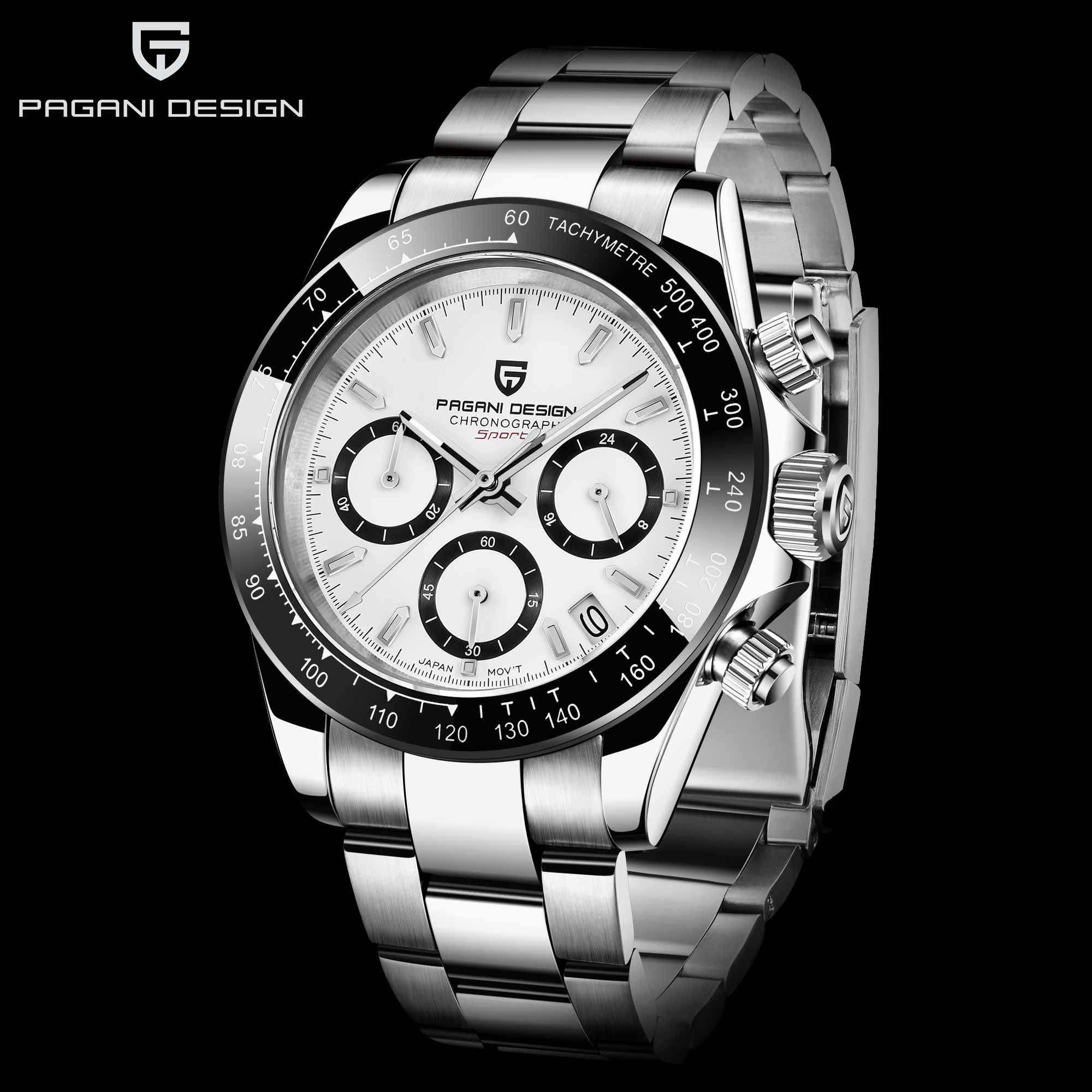 Nova série pagani clássico preto dial relógios de quartzo dos homens luxo aço inoxidável 100m à prova dwaterproof água relógio mecânico