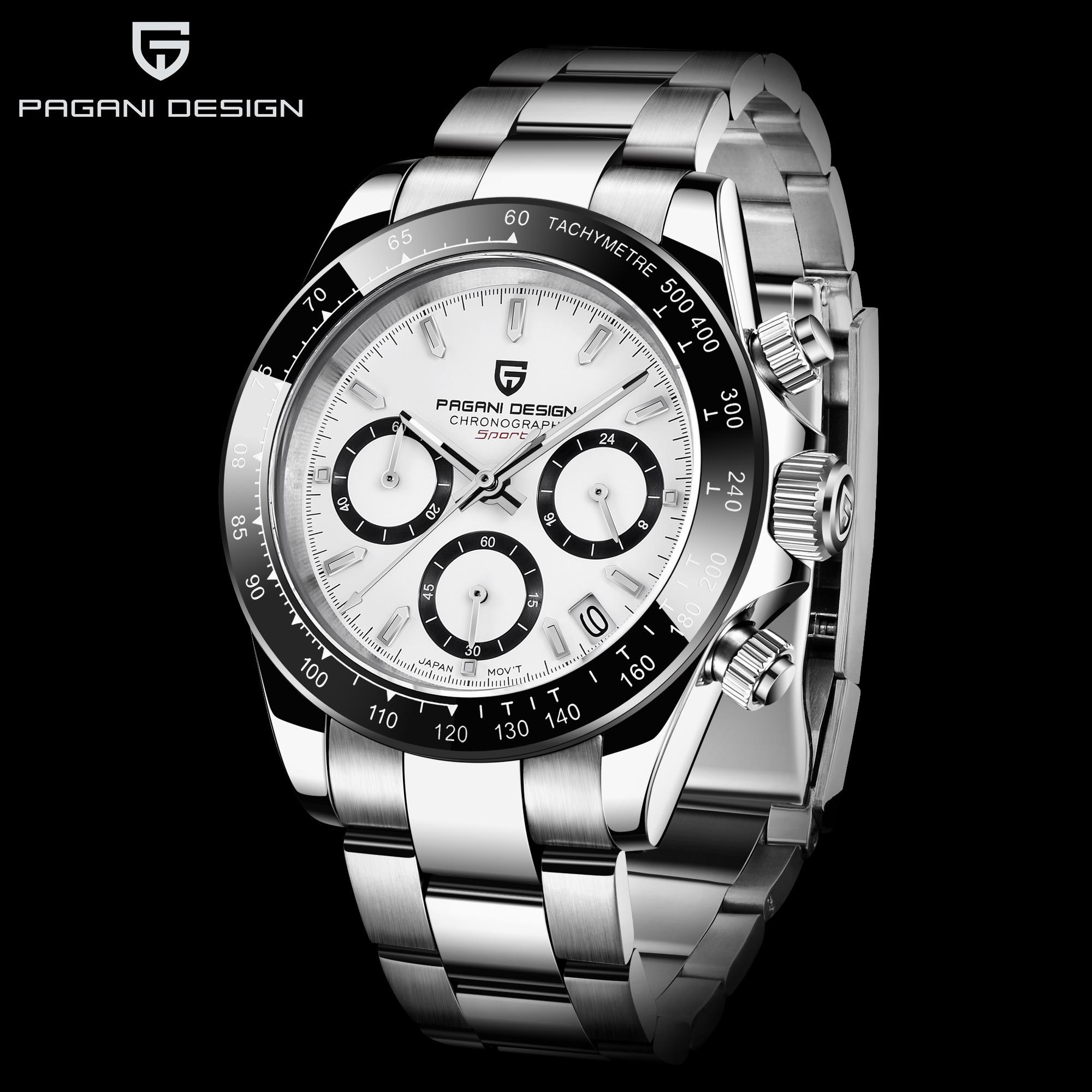 PAGANI 2019 série classique cadran noir de luxe hommes montres à quartz en acier inoxydable 30m montre mécanique étanche