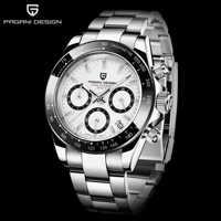 Reloj Mecánico a prueba de agua 30m de acero inoxidable relojes de cuarzo de lujo de esfera negra clásica de la serie PAGANI 2019