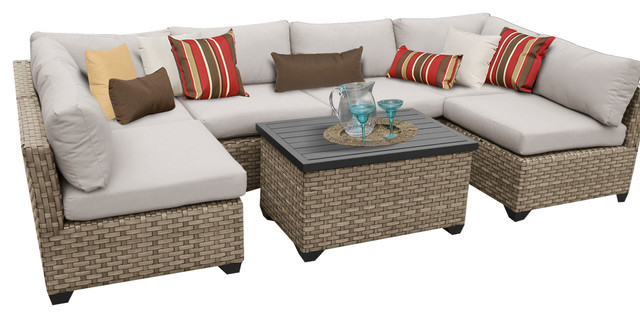 classic furniture outdoor rattan wicker furniture 7 piece sectional sofa set