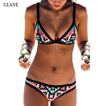 Sexy Womens Print Floral Bandage India Bikini Set Bandeau Triangle Push-Up Padded Swimsuit Beachwear Swimwear