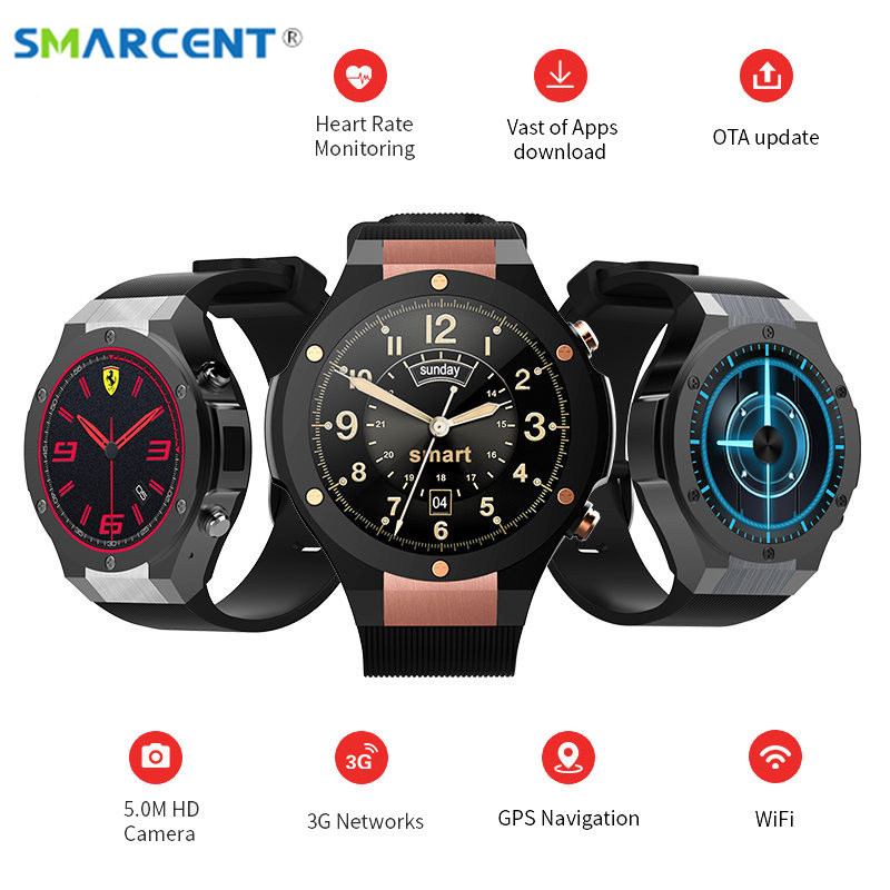 SMARCENT 2017 Newest H2 Android 5.1 MTK6580 1GB 16GB Smart Watch Clock with GPS Wifi 5MP Camera Smartwatch For Android iOS pk H1 smart baby watch q60s детские часы с gps голубые