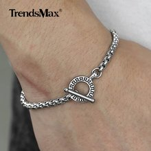 Trendsmax 4mm Mens Bracelets Silver Black Stainless Steel Box Link Bracelet Men Women High Quality Dropshipping Jewelry TBS003