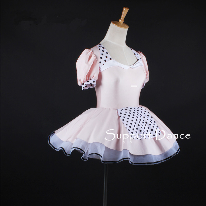 Girls Puff Sleeve Maid Style Ballet Tutu Dress Women Pink Backless Performance Costume Support Dance C326