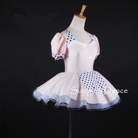 Girls Puff Sleeve Maid Style Ballet Tutu Dress Women Pink Backless Performance Costume Support Dance C326
