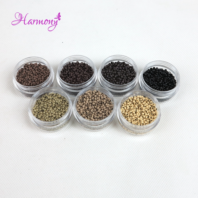 7 Colors 2.5x1.5x1.6mm Copper Micro Nano Beads Nano Rings for Nano-tip Hair Extensions 1000pcs/jar ...
