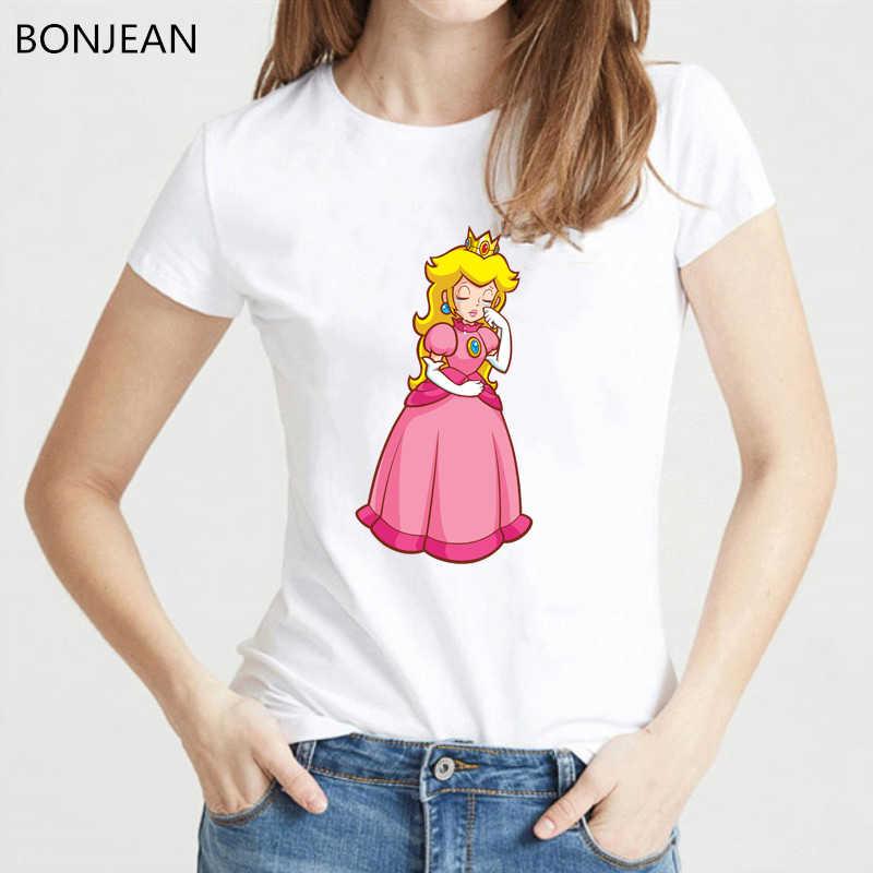 Rosa Princesa dos desenhos animados impresso t shirt mulheres vogue engraçado camiseta femme camisa harajuku topos tumblr tee fêmea t-shirt streetwear