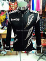 Male Black Rivets Jacket Dancewear Nightclub Bar Stage Show Costume Nightclub Dj  For Men Singer Outerwear Dance Suit Costumes