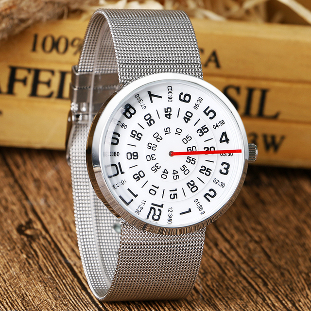 Fashion Turntable Steampunk Watch Stainless Steel Wrist Watch Iron Mesh Quartz Watch Men Big Dial Dress Watch Q0824
